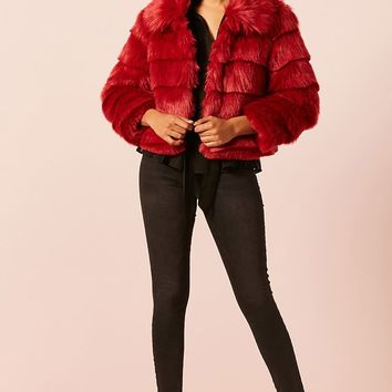 Faux Fur Tiered Coat