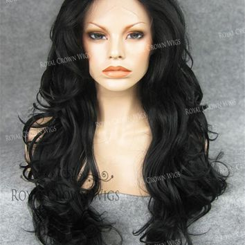"""26"""" Heat Safe Synthetic Lace Front """"Constance"""" with Curly Texture in Black"""