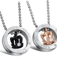 """Stainless Steel """"Keep Me In Your Heart"""" Crown Couples Pendant Necklaces 22""""-SN3318: Jewelry: Amazon.com"""
