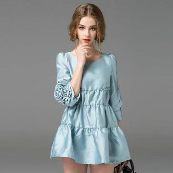 High Quality O-Neck Petal Sleeve Dress