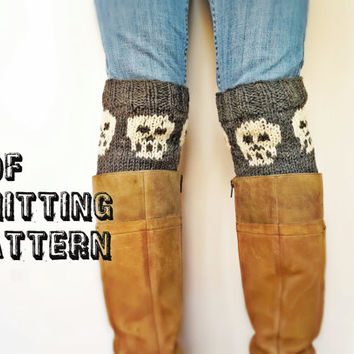 Skull Boot Cuff Knitting Pattern, Skeleton Knitting Pattern, DIY Picture Knitting Pattern