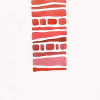 Original abstract art. Red watercolor painting. Modern art for home decor.
