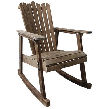 Wooden Rocking Chair Rustic American Country Style Antique Vintage Adult Large Garden Rocker Armchair Rocker Patio