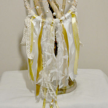 Gold and Ivory Dreamcatcher Luxurious and Elegant Wall Decor
