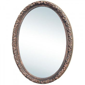 ANTIQUE OVAL MEDICINE CABINET VANITY MIRROR