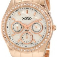 XOXO Women's XO5386  Rhinestone-Accented Rose Gold-Tone Dress Watch