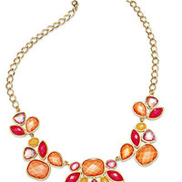 Style&co. Necklace, Gold-Tone Orange and Raspberry Bead Frontal Necklace - All Fashion Jewelry - Jewelry & Watches - Macy's