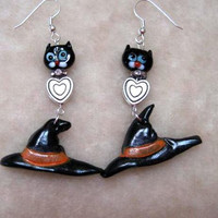 Halloween Earrings, Dangle Black Cat and Witches Hat, Lampwork glass, Fimo, Quailty Silver tone findings, Hypoallergenic earring hooks