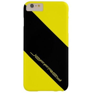 Modern Yellow & Black Classy, Personalized Name Barely There iPhone 6 Plus Case