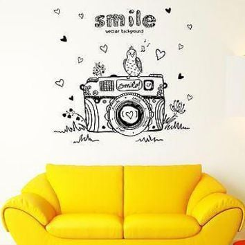 Wall Decal Smile Camera Bird Melody Spring Hearts Mural Vinyl Stickers Unique Gift (ed047)