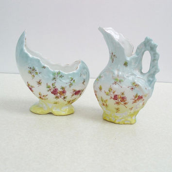 Antique Sugar Creamer  Antique Porcelain  Sugar Bowl & Creamer Set  Hand Painted Flora  Blue Yellow Porcelain