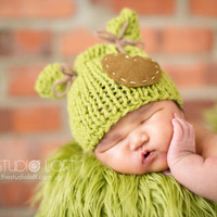 Newborn Photo Prop / Baby Knit Hat / Green / Critters Hat / Cute ears Hat / Hand knitted Baby Hat / Etsy Kids