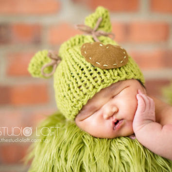 bea795dd6ca ... 50% off newborn photo prop baby knit hat green critters hat cute bfa2b  a3f9d
