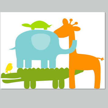 Kids Wall Decor- Nursery Wall Art- Safari Animals Party- Alligator Elephant Giraffe Turtle Bird Print-