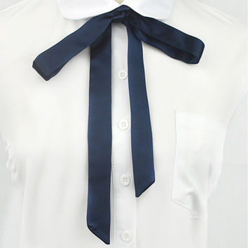 Fashion High School Girls Tie Japanese Preppy Chic Bow Tie Uniform Comic and Animation Cosplay Neck Rope Butterfly Navy Blue