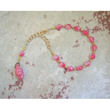 Gaia Prayer Bead Bracelet in Rose: Mother Earth, Mother of the Greek Gods