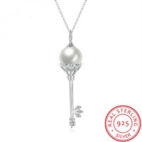 2017 Authentic Collier Wholesale Fashion Jewelry 100% 925 Sterling silver Fit Original Pearl Key Necklace Women Charm Name-in Pendant Necklaces from Jewelry & Accessories on Aliexpress.com | Alibaba Group