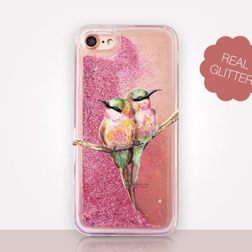 Hummingbirds Glitter Phone Case - Transparent Case - Clear Case - Transparent iPhone 7 - Clear iPhone 7 Plus - Gel Case - iPhone 6/6S