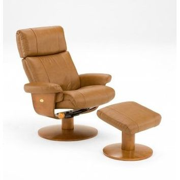 Mac Motion Oslo Air Massage in Saddle Top Grain Leather Swivel Recliner with Ottoman