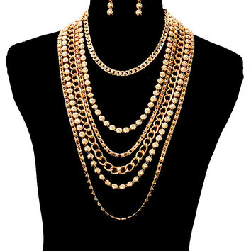 "19"" gold chain bead layered chain choker collar bib necklace earrings"