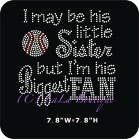 Baseball sister rhinestone hot fix iron on transfer - DIY motif appliqué for t-shirts - Hot fix sister