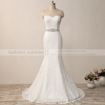 2016 New Elegant Wite Ivory High-grade Lace Wedding Gown Real Satin Mermaid Wedding Dress 2017 Vintage Sash vestido De noiva