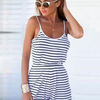 Blue and White Striped Spaghetti Straps Romper