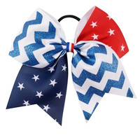 7'' Flag Cheer Bow Red Blue Ribbon With White Stars Large Hair Bow Flag Girl Hair Accessories For 4th Of July