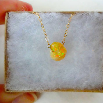 Rough Fire Opal Pendant and 925 Sterling Silver; Oxidized 925 Serling Silver; 14k Rose Gold or 14k Gold Fill Chain Necklace