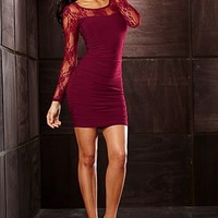 Wine Lace sleeve dress from VENUS