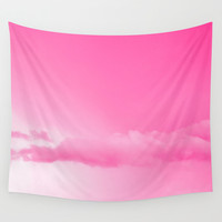 Pink Cotton Candy Clouds Wall Tapestry by Moonshine Paradise