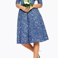Lace Printing Fifth Sleeve High Waist Dress