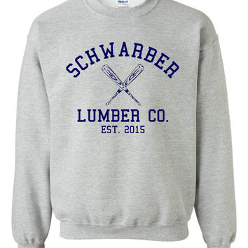 Schwarber Lumber Company Chicago Baseball Fan Crewneck Sweatshirt Cubs Fan Sweatshirt Playoff Sweatshirt