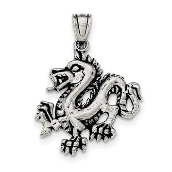Sterling Silver Antiqued & Textured Chinese Dragon Pendant