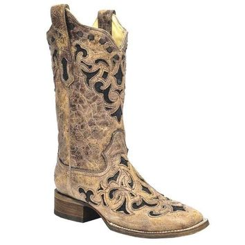 ICIKAB3 Corral Brown Stingray Inlay Wide Square Toe Boots