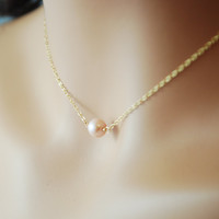 Pink Pearl Choker Necklace Gold Jewelry by livjewellery on Etsy