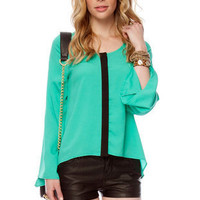 Down the Middle Contrast Top in Emerald