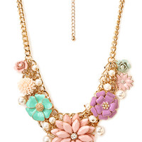 Oversized Floral Charm Necklace