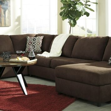 Ashley Furniture 64904-66-34-17 3 pc jayceon ii collection java fabric upholstered sectional sofa set with rounded arms