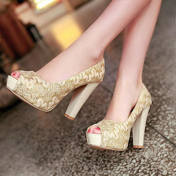 Ladies sexy Sequin Lace Peep Toe thick heels wedding shoes high heels platform Open toe women pumps V218