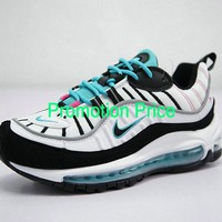 Really Cheap Men Authentic Nike Air Max 98 South Beach White Pink Kinetic Green Black 640744-005 sneaker
