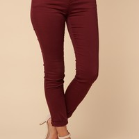 All Natural Mid Rise Jeans (Burgundy)