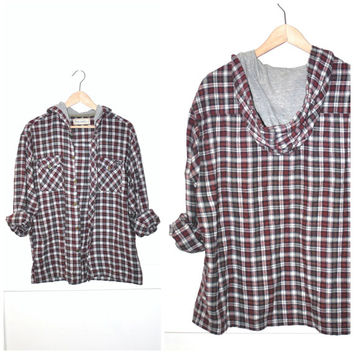 hooded red PLAID flannel shirt vintage 80s 90s GRUNGE unisex button up REDLANDS felaxed fit flannel top os