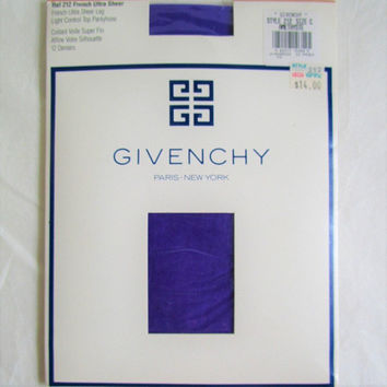 Vintage Early 1990s Stockings Givenchy Hoisery Amethyste Purple 1990 Designer Nylons 90s French Ultra Sheer Medium C
