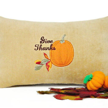 Thanksgiving Accent Pillow Give Thanks Pumpkin Camel Beige Brown Decorative Repurposed