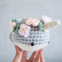 Narwhal plush toy - Amigurumi Crochet - Kawaii Plush - Narwhal - Cute Gift