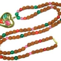Heart Chakra Mala- Pink, Coral, Green Jade Prayer Beads Rudraksha Yoga Spiritual Necklace