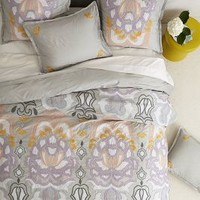 Safia Embroidered Duvet by Anthropologie Light Grey