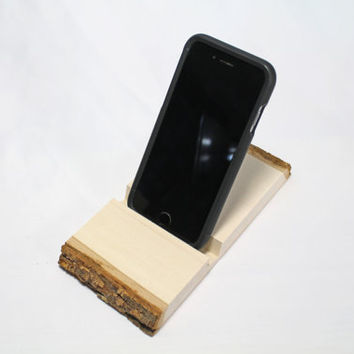 WOOD PHONE STAND: Personalized Phone Stand, Rustic Stand, Photo on Wood, Photo Gift, Basswood Slice, Holiday Gift for Men, Country Gift