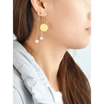 Long Chain With Simulated-Pearl Circular Star Shape Stud Earrings